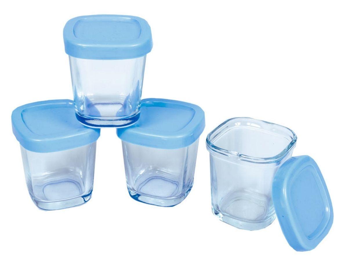 Kit 4 potes de vidro para leite materno - Clingo  - Kaiuru Kids
