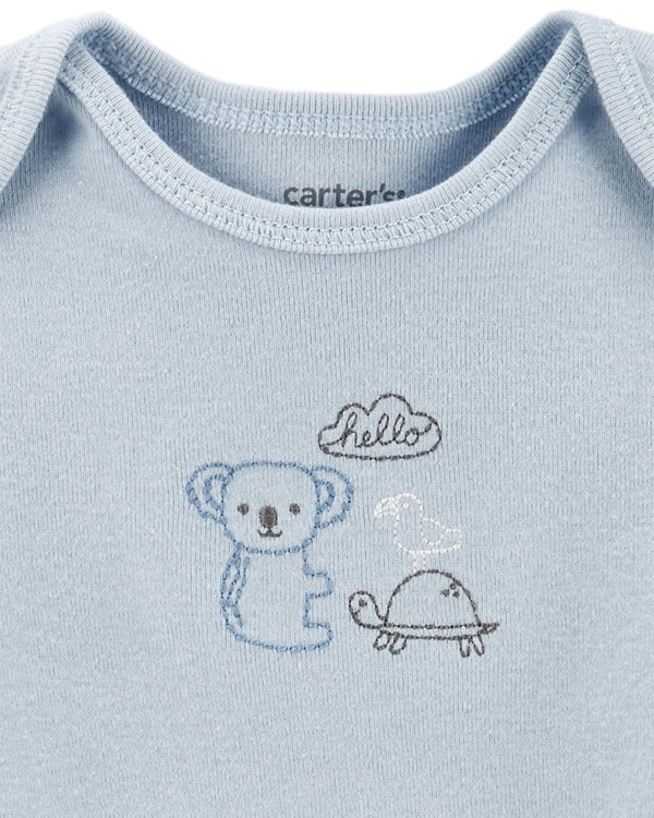 Kit 5 bodies manga curta animal print - Carters  - Kaiuru Kids