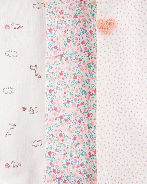 Kit 5 bodies manga curta rosa claro floral - Carters  - Kaiuru Kids