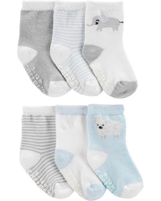 Kit 6 meias cinza e branco ovelha - Carters  - Kaiuru Kids