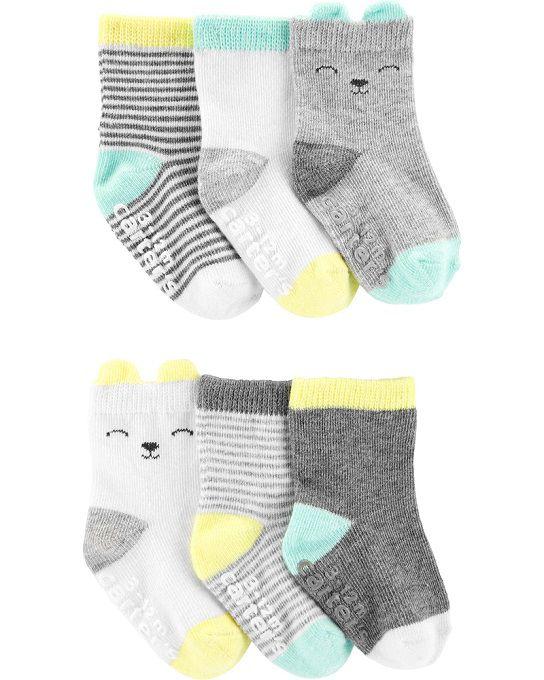 Kit 6 meias cinza ursinho - Carters  - Kaiuru Kids