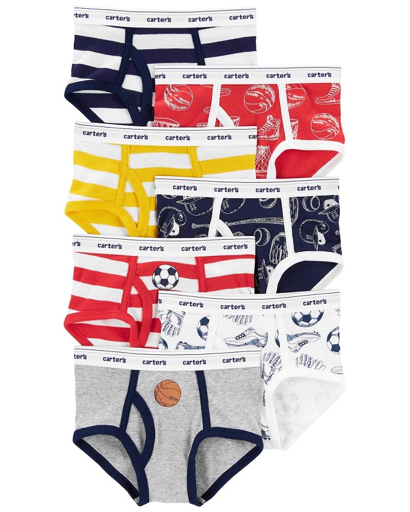Kit 7 cuecas coloridas esportes e listras - Carters  - Kaiuru Kids