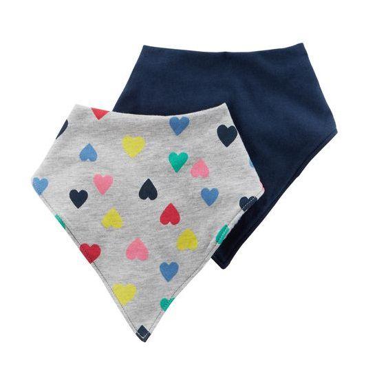 Kit babador bandana azul e cinza corações - Carter