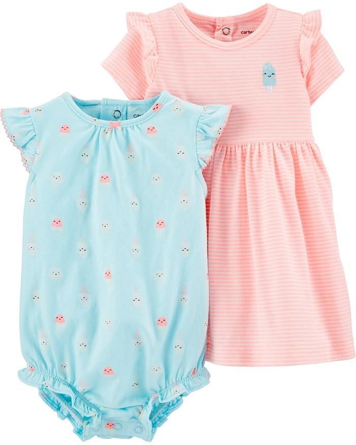 Kit vestido laranja neon e macaquinho azul sorvetes - Carters  - Kaiuru Kids