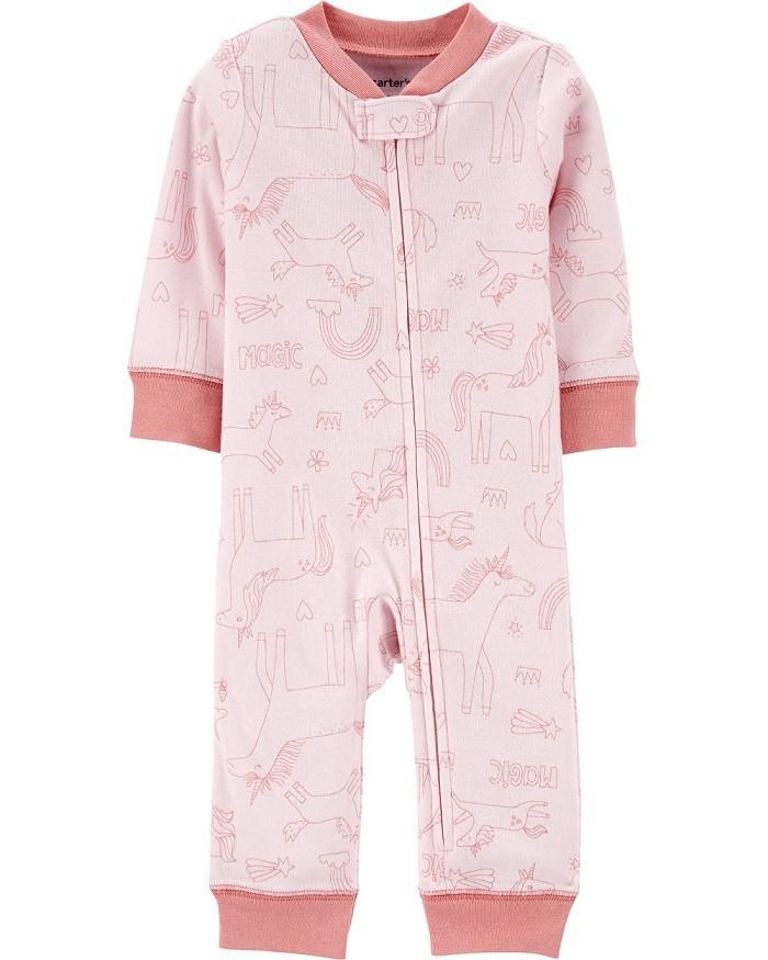 Macacão de malha sem pé rosa unicórnios - Carters  - Kaiuru Kids