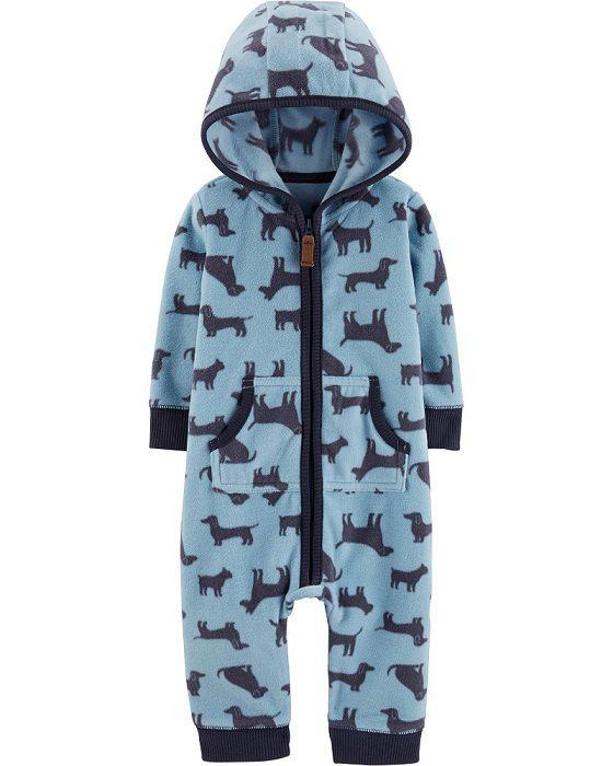 Macacão de plush com capuz azul cachorros - Carters  - Kaiuru Kids