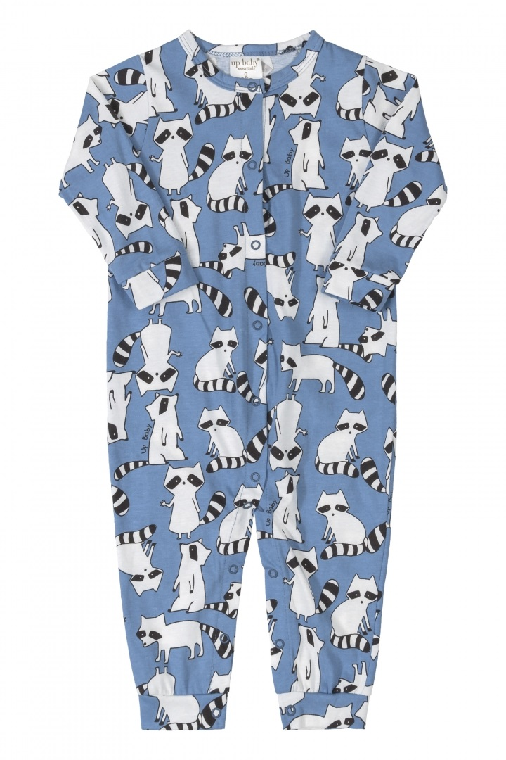 Macacão manga longa azul guaxinim - Up Baby  - Kaiuru Kids