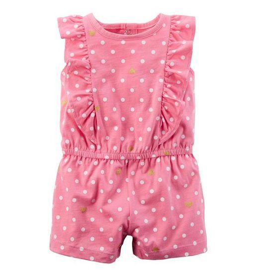 Macaquinho rosa poás com babados - Carters  - Kaiuru Kids