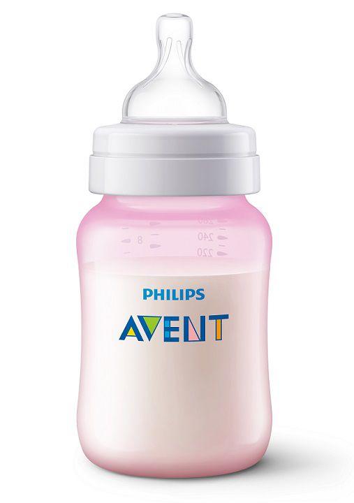 Mamadeira Anti-colic clássica rosa 260 ml (1m+) - Avent  - Kaiuru Kids