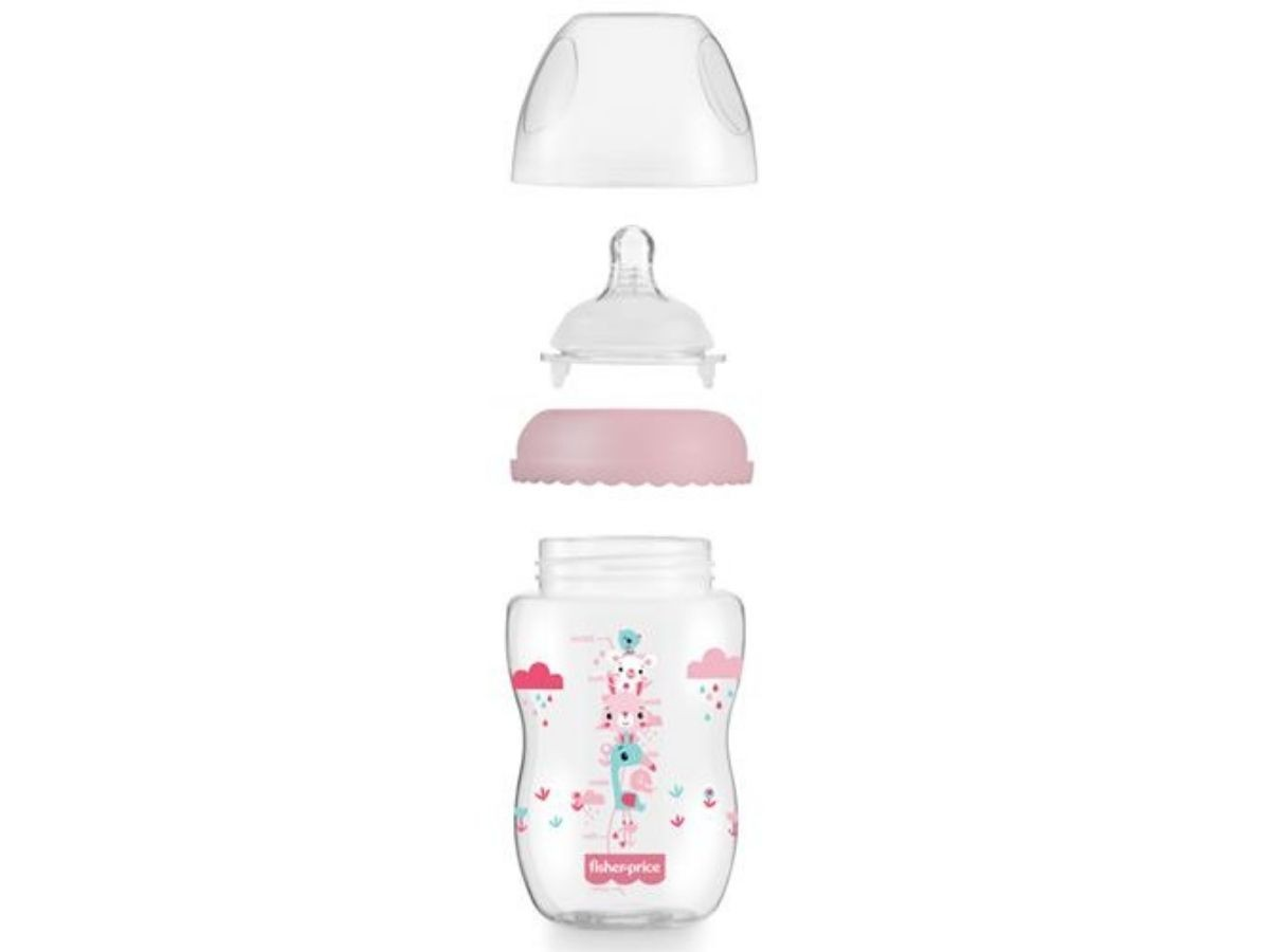 Mamadeira First Moments clássica rosa 330ml (4M+) Fisher-Price  - Kaiuru Kids