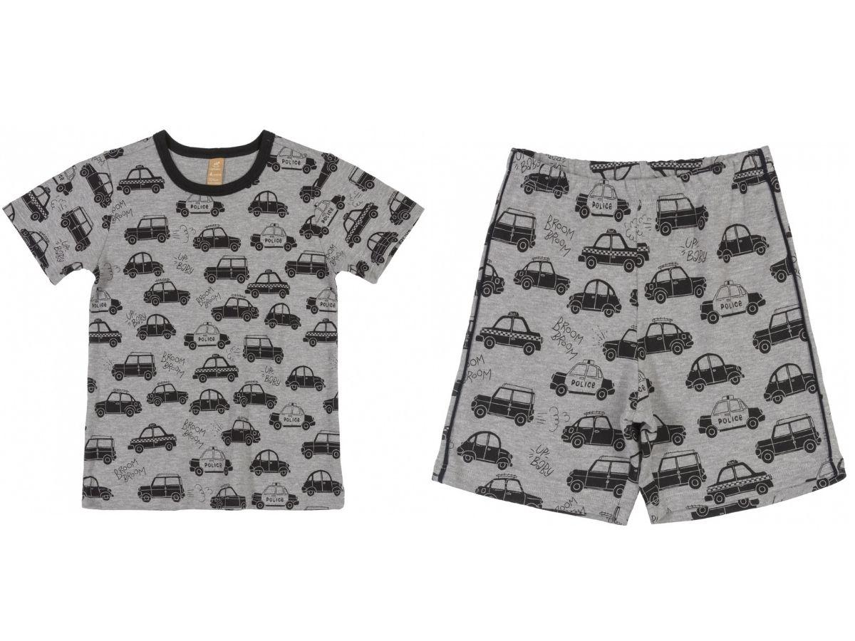 Pijama infantil verão com blusa e bermuda cinza carros - Up Baby  - Kaiuru Kids