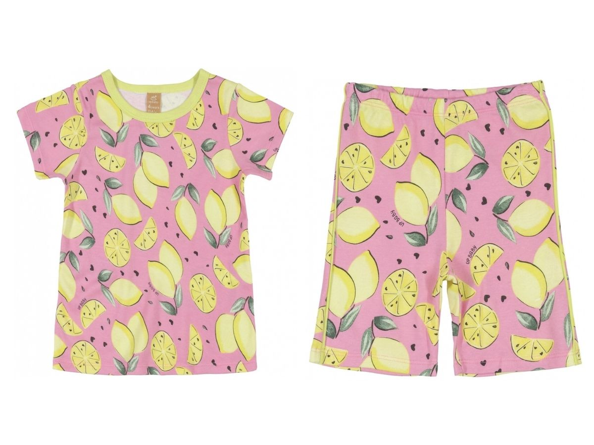 Pijama infantil verão com blusa e bermuda em suedine rosa - Up Baby  - Kaiuru Kids