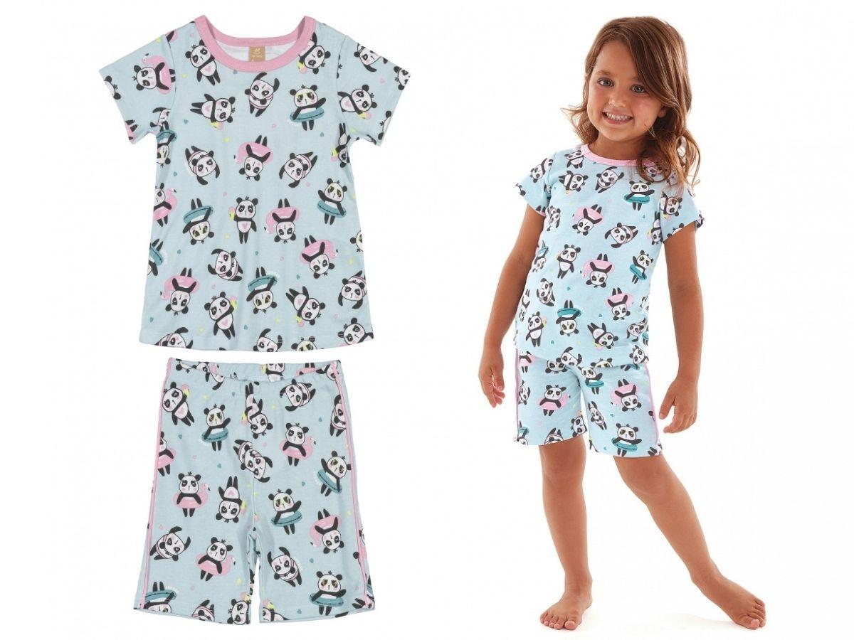 Pijama infantil verão com blusa e bermuda em suedine verde panda - Up Baby  - Kaiuru Kids