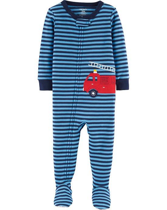 Pijama macacão de malha azul bombeiro - Carters  - Kaiuru Kids