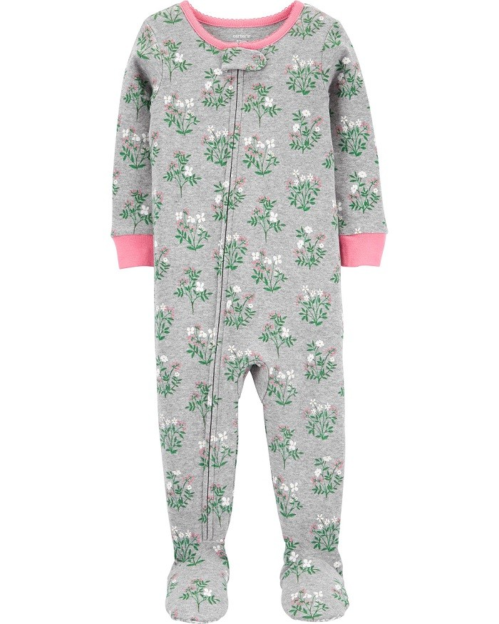Pijama macacão de malha cinza floral - Carters  - Kaiuru Kids