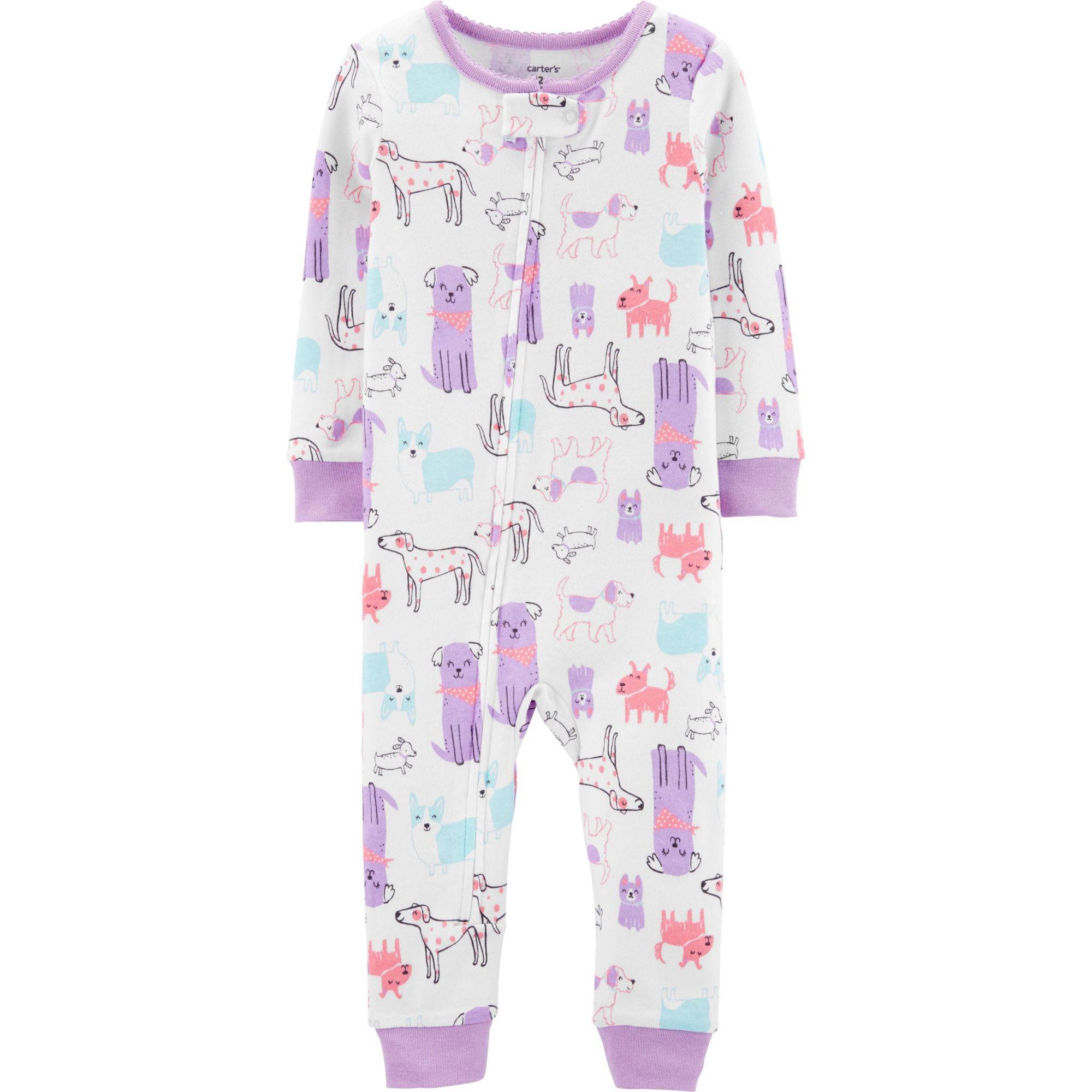 Pijama macacão de malha sem pé lilás cachorros - Carters  - Kaiuru Kids