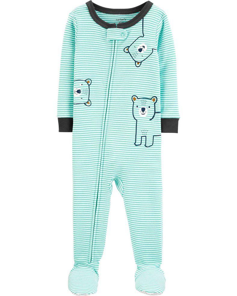 Pijama macacão de malha verde urso - Carters  - Kaiuru Kids