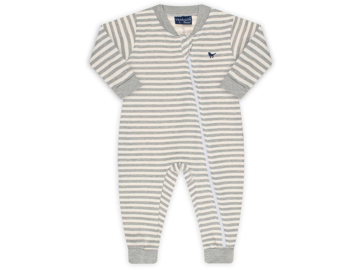 Pijama macacão de moletom flanelado cinza listrado - Vrasalon  - Kaiuru Kids