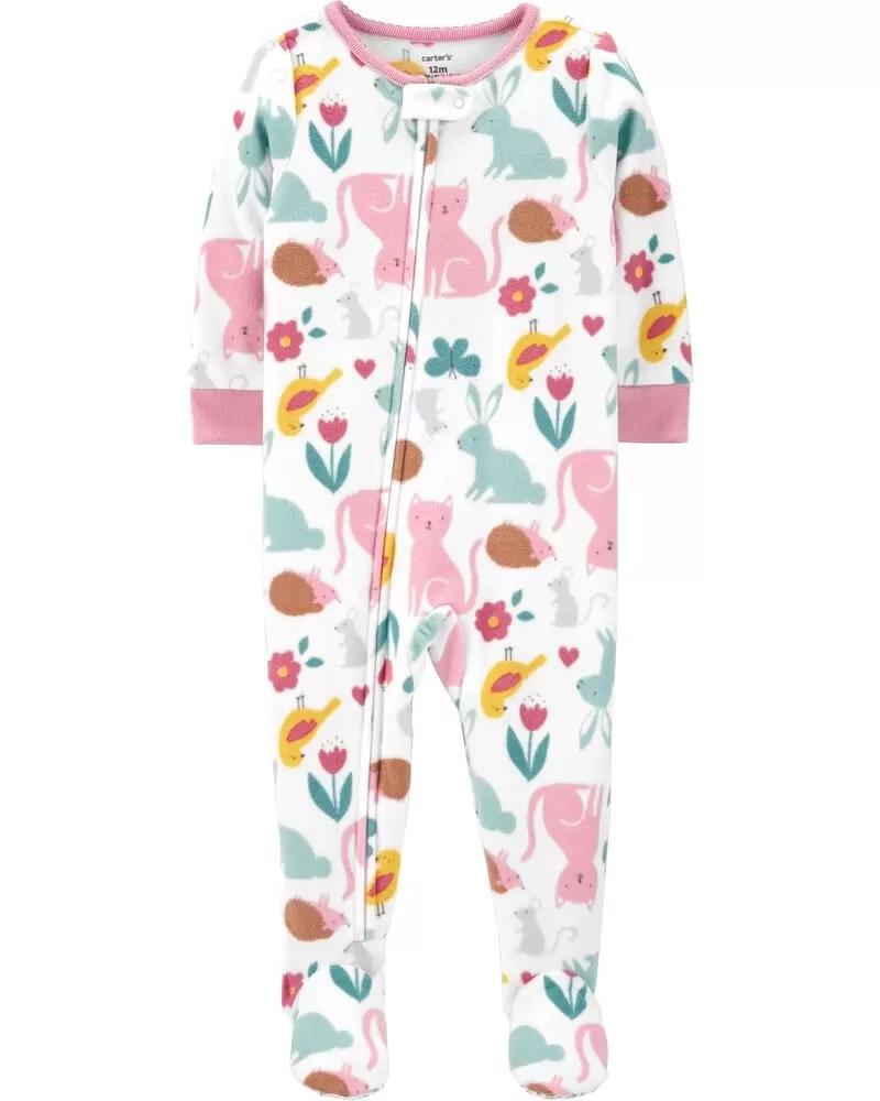 Pijama macacão de plush branco e rosa animais e flores - Carters  - Kaiuru Kids