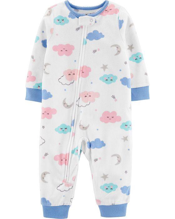 Pijama macacão de plush sem pé nuvens - Carters  - Kaiuru Kids