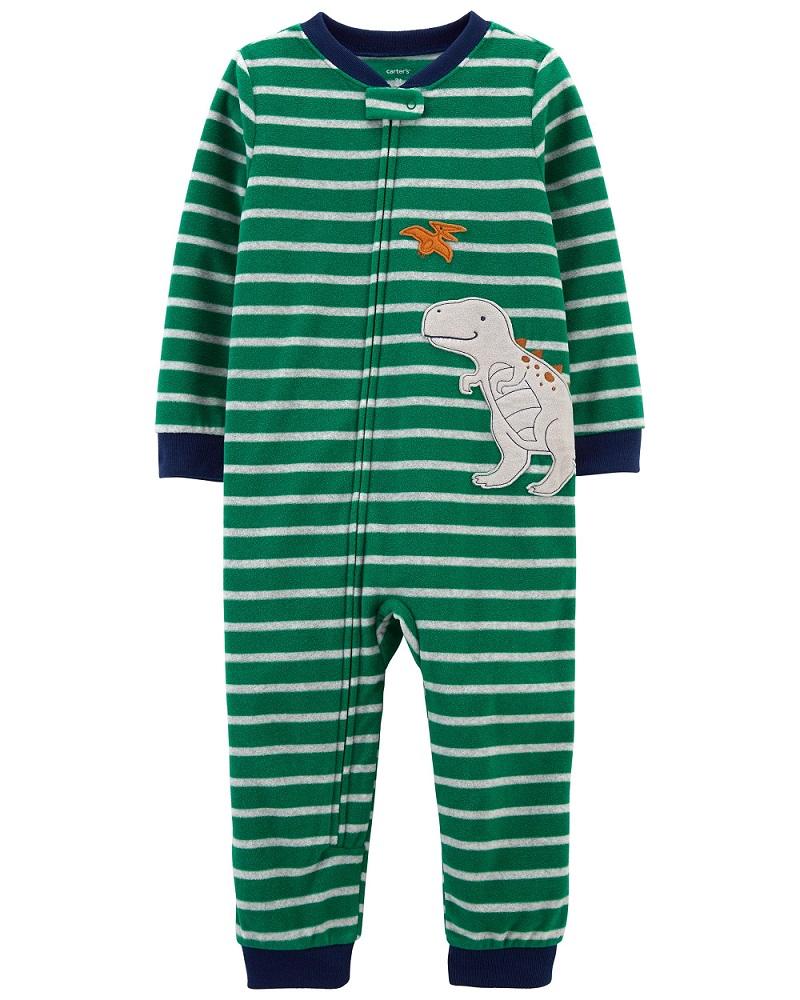 Pijama macacão de plush sem pé verde dinossauro - Carters  - Kaiuru Kids