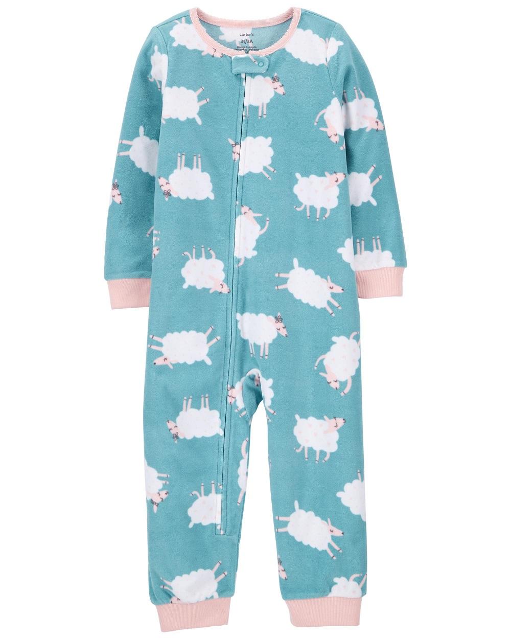 Pijama macacão de plush sem pé verde ovelhas - Carters  - Kaiuru Kids
