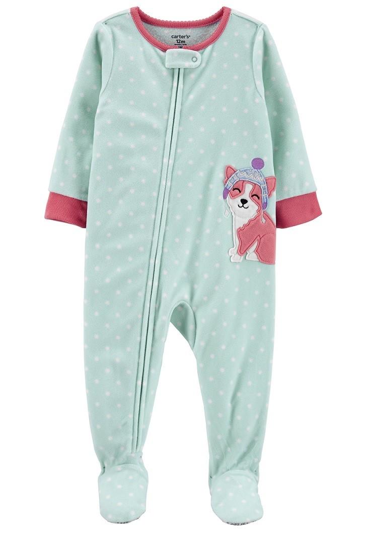 Pijama macacão de plush verde cachorrinha - Carters  - Kaiuru Kids