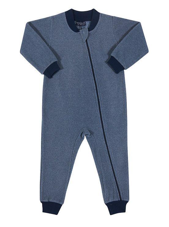Pijama macacão de soft azul listrado - Vrasalon  - Kaiuru Kids