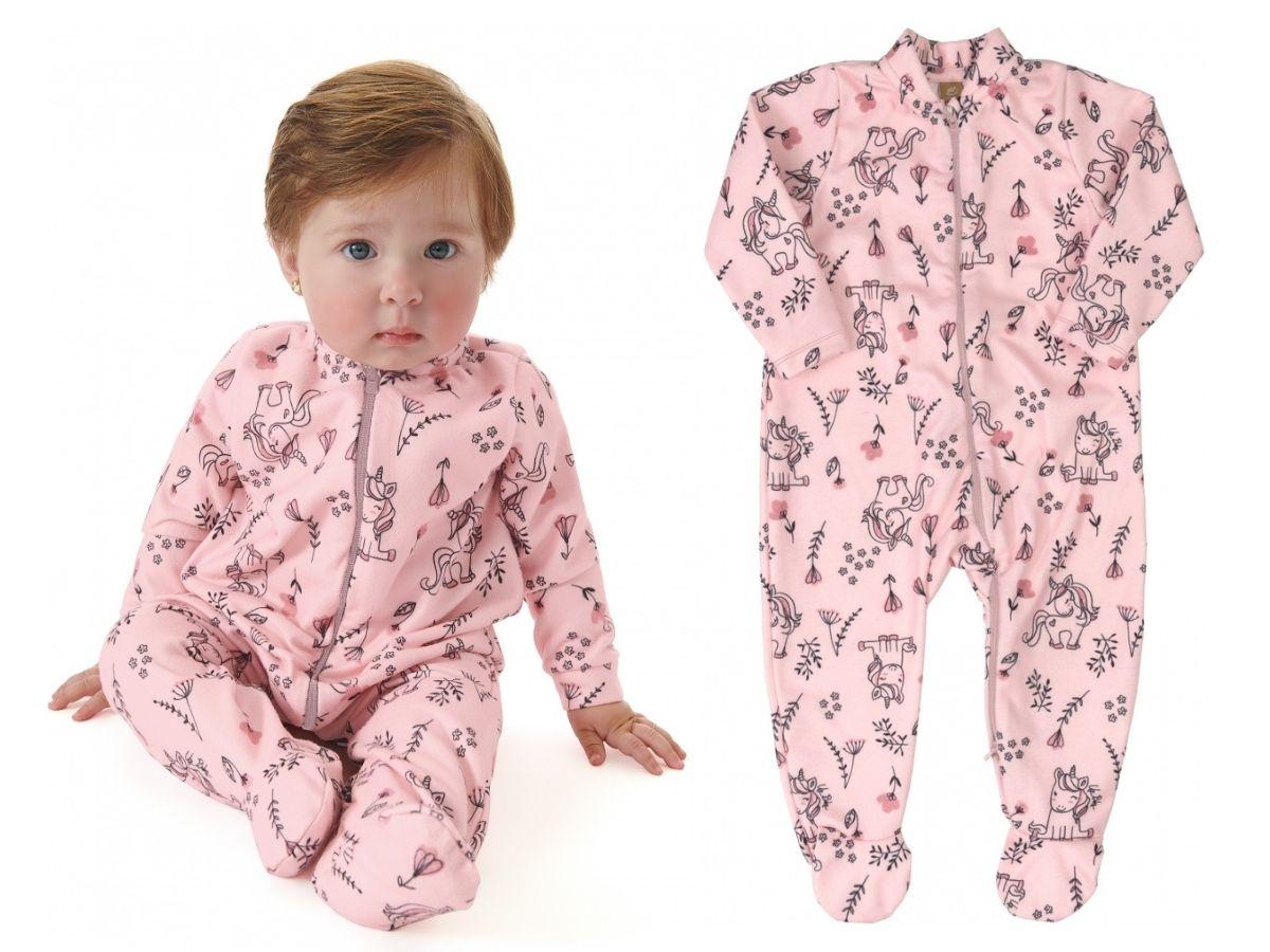 Pijama macacão em microsoft rosa unicórnios - Up Baby  - Kaiuru Kids