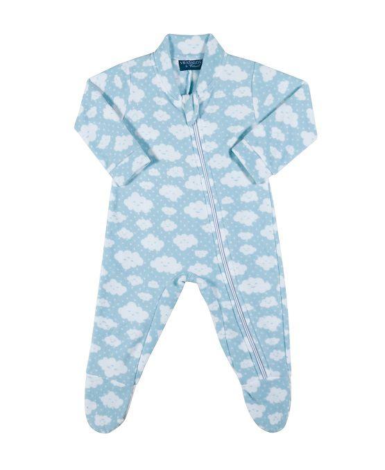 Pijama macacão soft azul nuvens - Vrasalon  - Kaiuru Kids