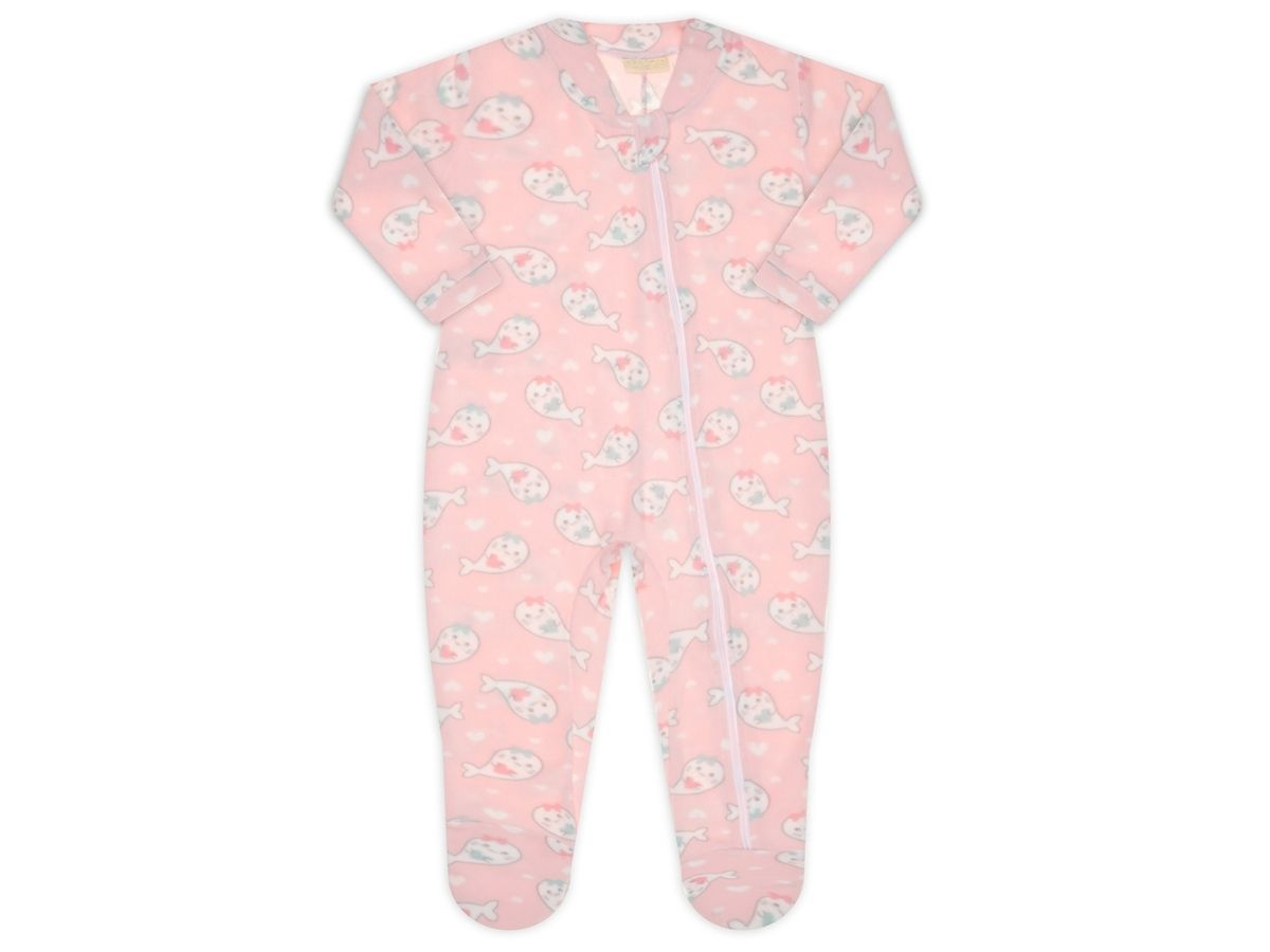 Pijama macacão soft rosa baleia petit - Vrasalon  - Kaiuru Kids
