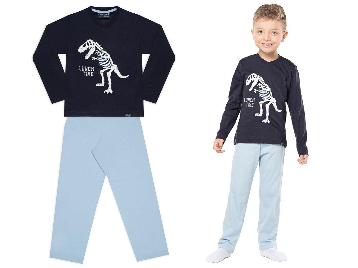 Pijama manga longa de malha azul dinossauro - Vrasalon  - Kaiuru Kids