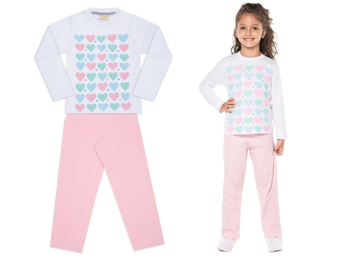 Pijama manga longa de malha rosa corações - Vrasalon  - Kaiuru Kids