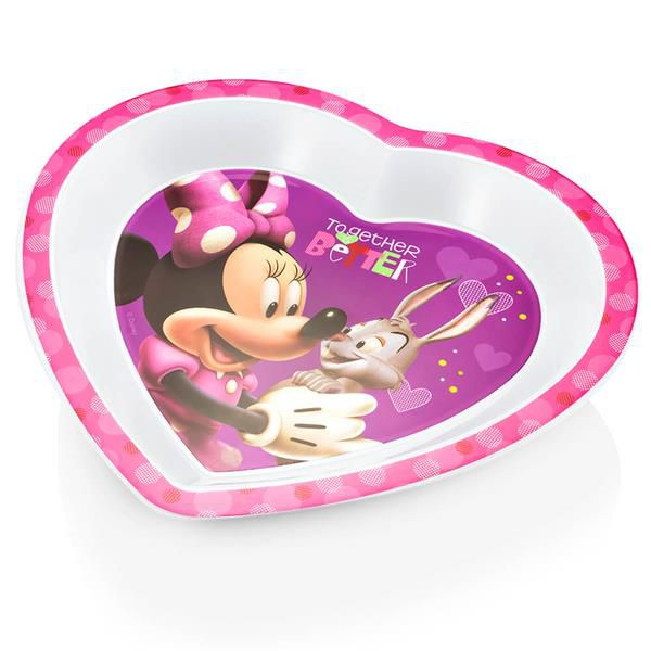 Prato raso coração para microondas Minnie - Multikids Baby  - Kaiuru Kids