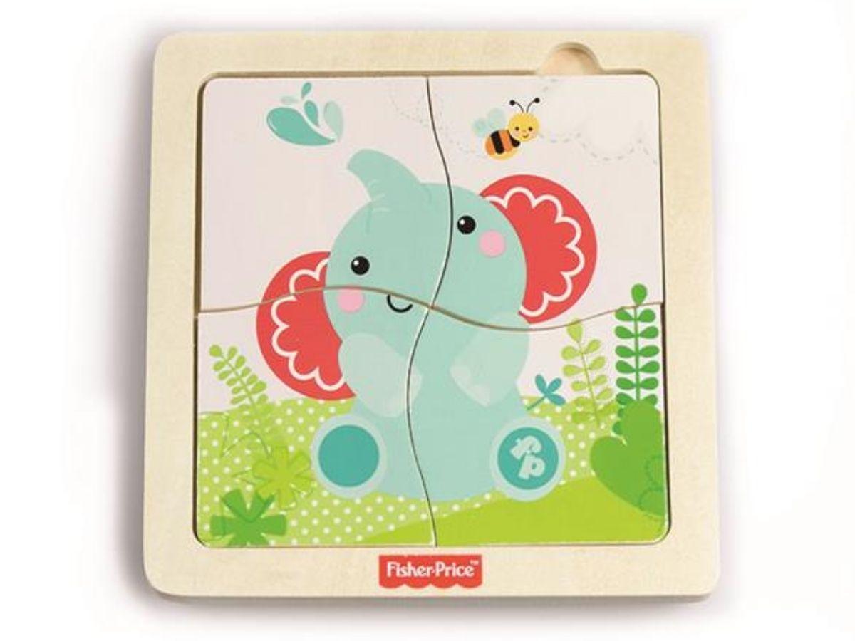 Quebra-cabeça de madeira banho com elefante - Fisher-Price  - Kaiuru Kids
