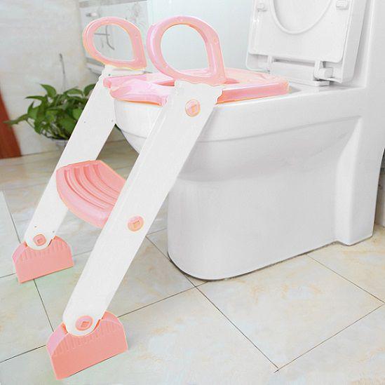 Redutor de vaso rosa com escada - Kababy  - Kaiuru Kids
