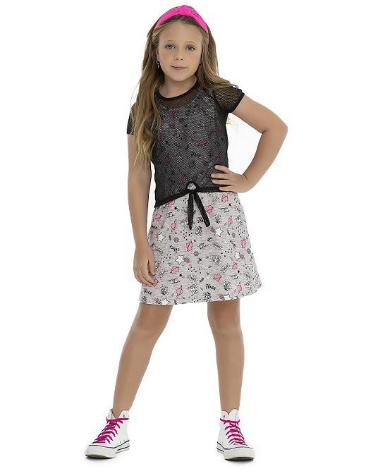 Vestido com sobreposição de tela - Pega Mania  - Kaiuru Kids