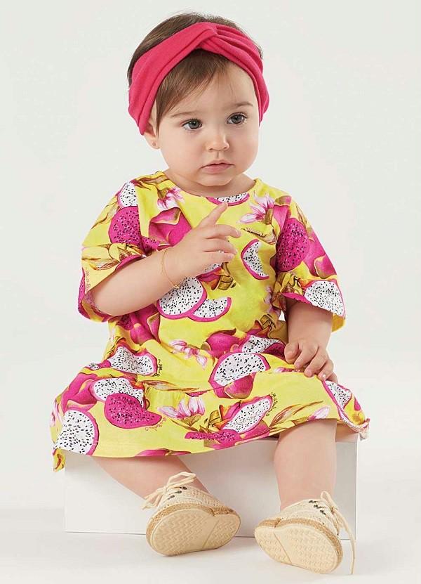 Vestido manga curta em meia malha Pitaya - UP Baby  - Kaiuru Kids