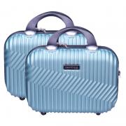 Kit 2 Frasqueiras de viagem rígidas, maletas de mão organizadoras de bagagem, necessaires para maquiagem - Geometric - Santino