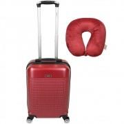 Kit de Viagem Mala de Bordo Rígida com Rodas Duplas e Almofada de Pescoço - Padrão Anac - Veneza Comfort