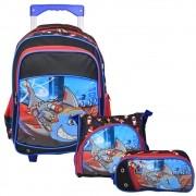 Kit Escolar Shark para Meninos com Mochila de Rodinhas Duplas, Lancheira e Estojo - Convoy Kids