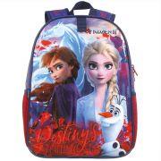 Mochila Escolar Infantil em Poloéster Elsa e Ana - Frozen 2 - Dermiwil