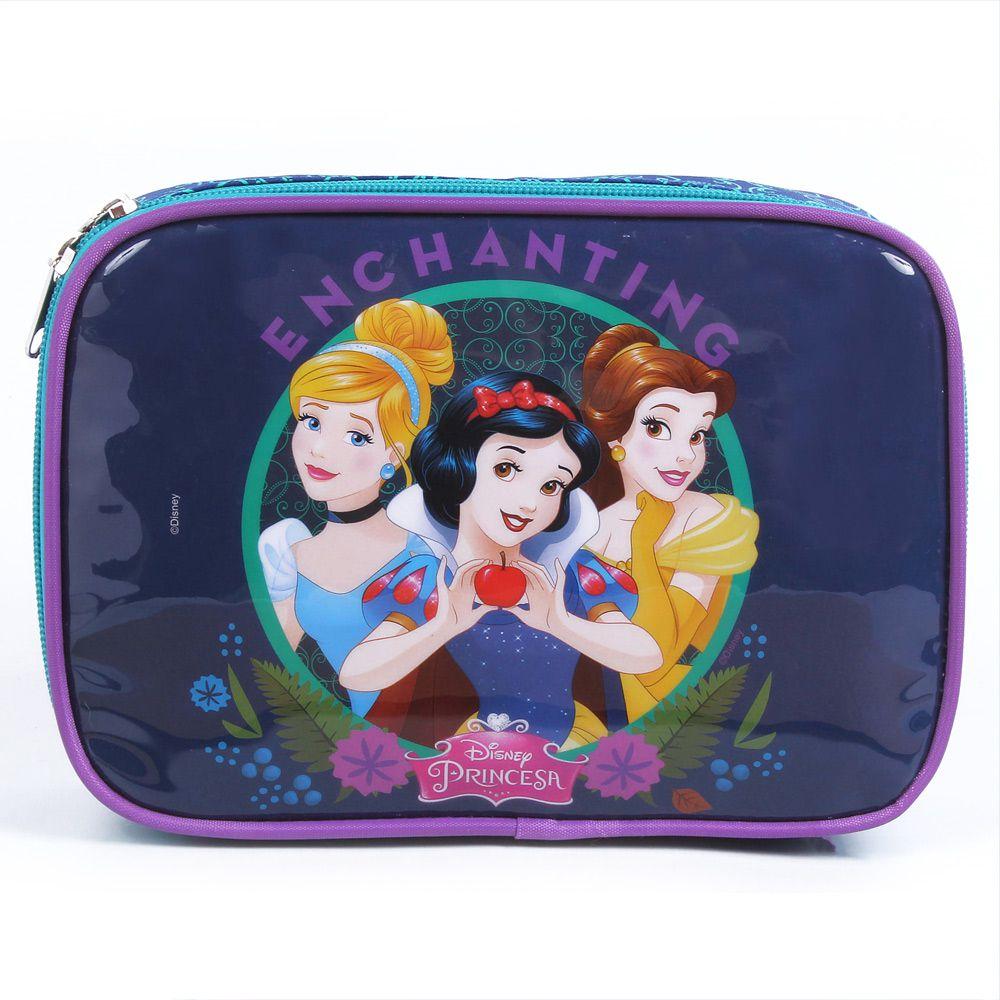 Estojo Escolar Infantil Cinderela, Branca De Neve E Bela, Para Meninas - Princesas da Disney - Dermiwil