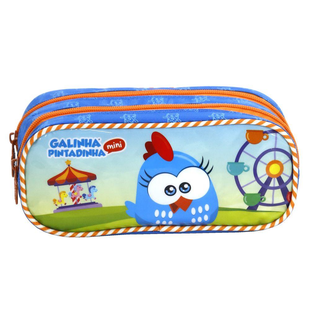 Estojo Escolar Infantil Duplo Festa no Parque  - Galinha Pintadinha Mini - Xeryus