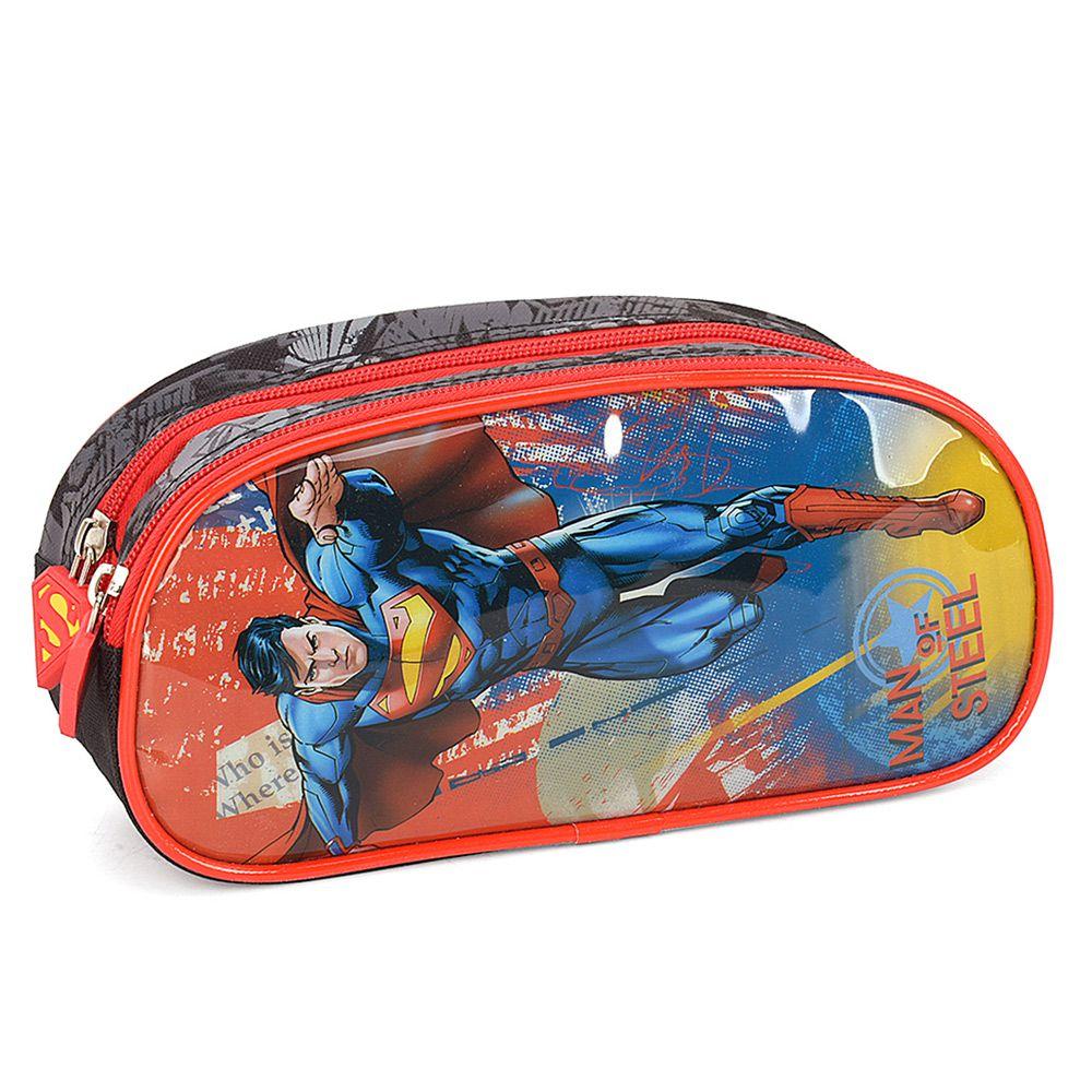 Estojo Infantil Escolar Duplo Impermeável Para Meninos - Super Homem - Luxcel