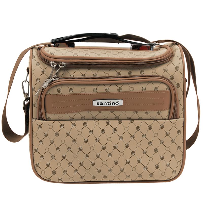 Frasqueira de viagem estilo baú, maleta de mão organizadora de bagagem, necessaire para maquiagem - Monograma - Santino