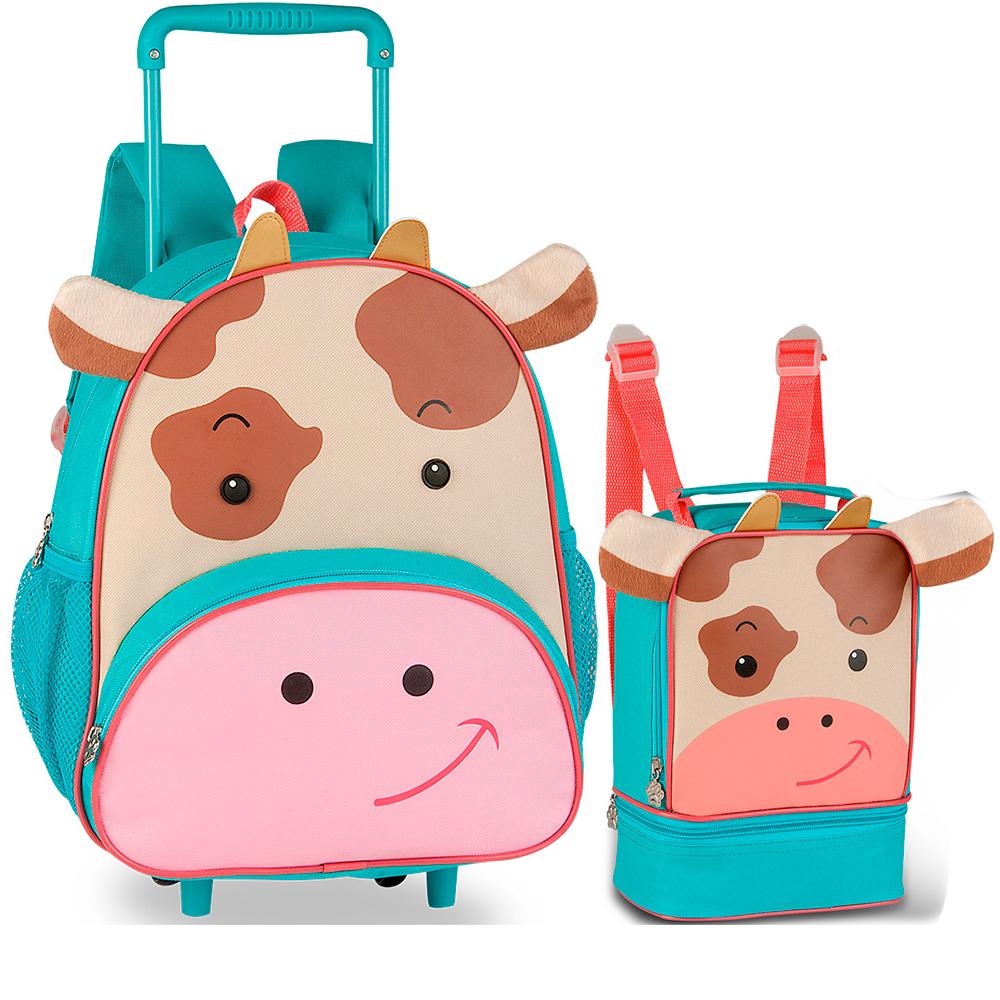 Kit Escolar Infantil para Meninos e Meninas com Mochila de Rodinhas e Lancheira - Zoo Pets - Clio