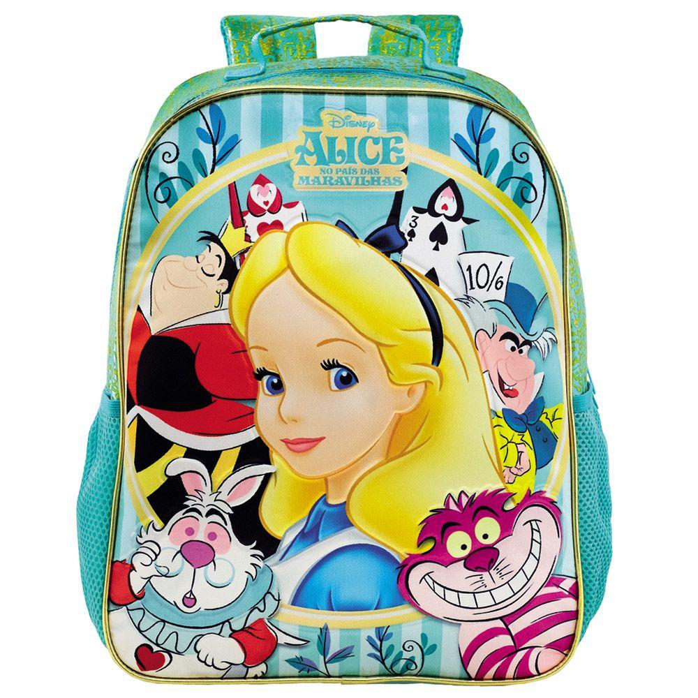"Mochila 16"" Alice no País das maravilhas Escolar infantil - Xeryus"