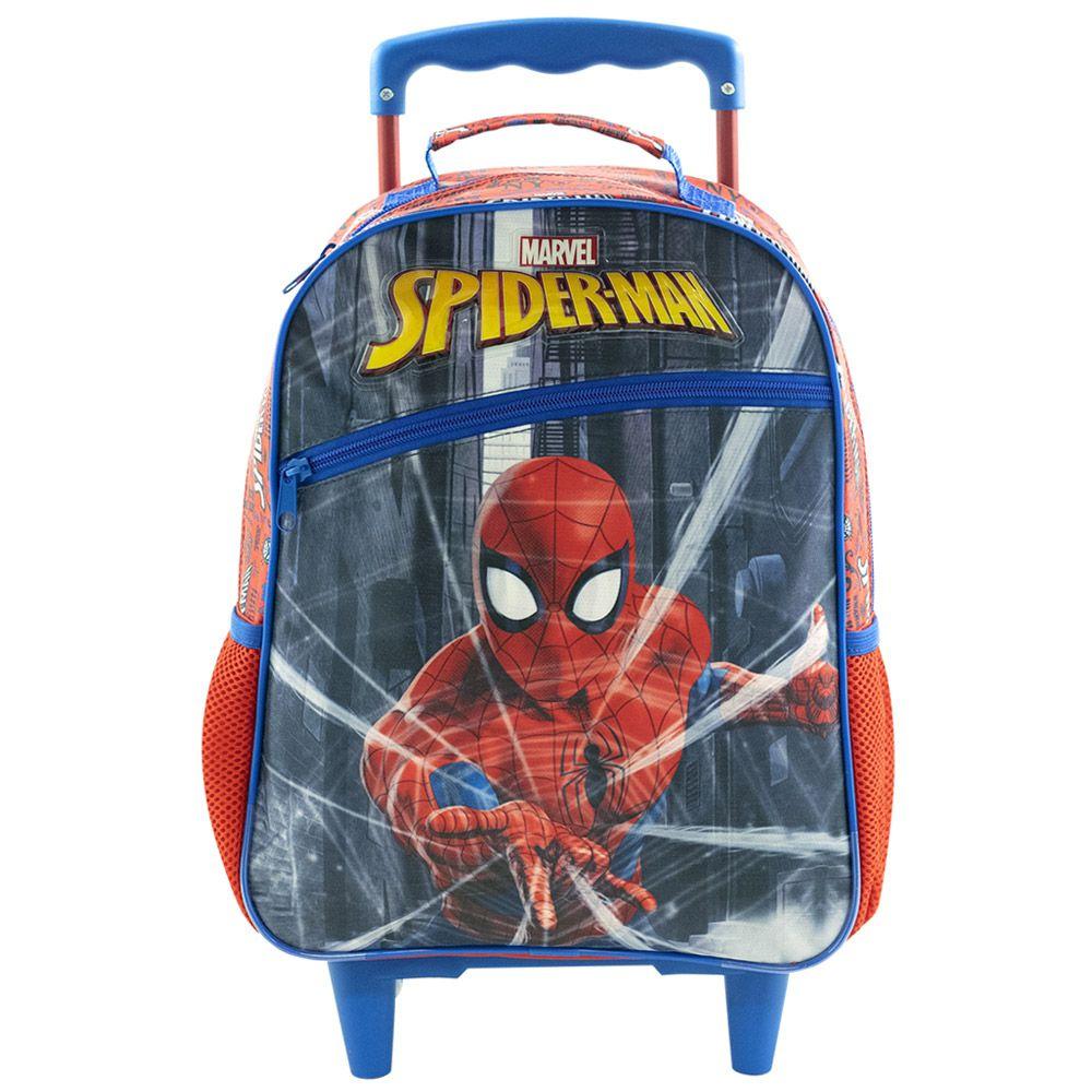 """Mochila com Rodas 16"""" Escolar Infantil Para Meninos - Homem Aranha - Xeryus"""