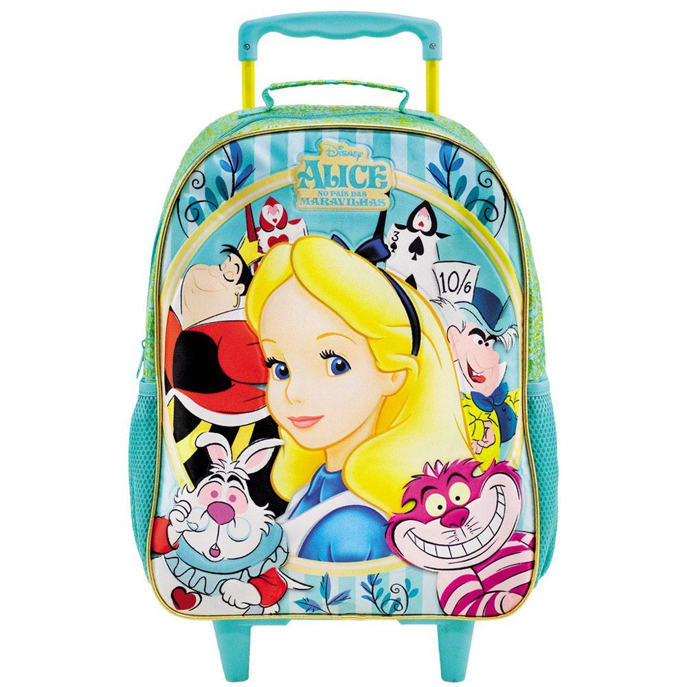 """Mochila Escolar 14"""" Alice no país das Maravilhas Com Rodinhas - Xeryus"""